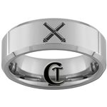 8mm Beveled Tungsten Carbide Army Field Artillery Crossed Cannons Design Ring.