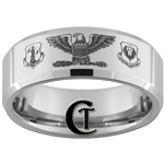 8mm Beveled Tungsten Carbide Air Force Air National Guard Colonel Eagle Design Ring.