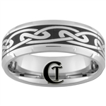8mm Beveled Tungsten Carbide Celtic Design