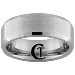 8mm Beveled Tungsten Carbide Stone Finish Ring