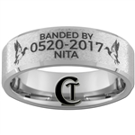 Build Your Own Custom 8mm Beveled Tungsten Carbide Stone Finish Duck Band Design