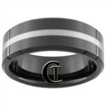 8mm Black Beveled Tungsten Carbide Lasered Line Design