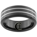 8mm Black Beveled Tungsten Carbide Laser Design