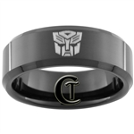 8mm Black Beveled Tungsten Carbide Transformers Autobot Design