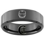 8mm Black Beveled Tungsten Iron Man Ring