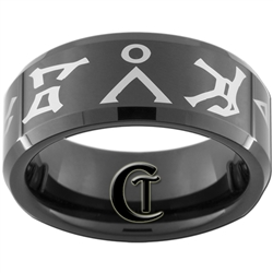8mm Black Beveled Tungsten Carbide Stargate Vagon Brei Design