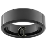 8mm Black Beveled Tungsten Carbide Ring