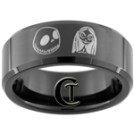 8mm Black Beveled Tungsten Carbide Jack and Sally Design