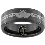 8mm Black Beveled Tungsten Carbide Claddagh Celtic Design