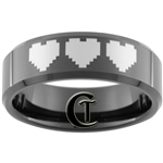 8mm Black Beveled Tungsten Carbide Zelda 8-Bit Heart Laser Design