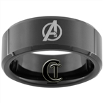 8mm Black Beveled Tungsten Carbide Avengers Design