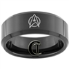 8mm Black Beveled Tungsten Carbide Star Trek Design