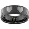 8mm Black Beveled Tungsten Carbide 8-Bit Heart Laser Design