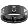 8mm Black Beveled Tungsten Carbide New Avengers Design