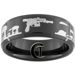 8mm Black Beveled Tungsten Carbide Star Wars Han's Blaster Hoth Battle Scene Design