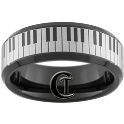 8mm Black Beveled Tungsten Carbide Lasered Piano Keys Design Ring