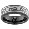 8mm Black Beveled Tungsten Carbide Celtic Design