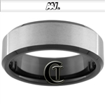 8mm Black Beveled Tungsten Carbide Satin Finish And Custom Designed Ring