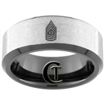 8mm Black Beveled Tungsten Carbide Stoned ARMY Sergeant Major  Design Ring.