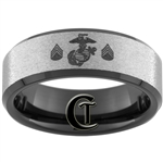 8mm Black Beveled Tungsten Carbide Stone Center Marines Sergeant Rank Design.