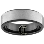 8mm Black Beveled Tungsten Carbide Stone Finish Ring