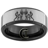 8mm Black Beveled Tungsten Carbide Stone Finish Wolf & Infinity Knot Design