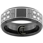 8mm Black Beveled Tungsten Carbide Doctor Who Tardis Design