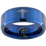 8mm Blue Beveled Tungsten Carbide Nurse Caduceus Design
