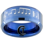 8mm Blue Beveled Tungsten Carbide Laser Music Bar Design