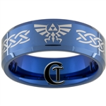 8mm Blue Beveled Tungsten Carbide Laser Legend of Zelda Design