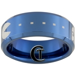 8mm Blue Beveled Tungsten Carbide PAC-MAN Design