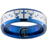 8mm Blue Beveled Tungsten Carbide Deer Cross and Tracks Hunting Design