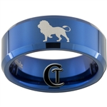 8mm Blue Beveled Tungsten Lion Design