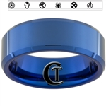 8mm Blue Beveled Tungsten New Avengers Design