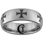 8mm Dome Tungsten Carbide Maltese Cross Design