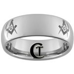 8mm Dome Tungsten Carbide Masonic Design