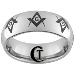 8mm Dome Tungsten Carbide Freemason Masonic Design