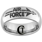 8mm Dome Tungsten Carbide  Air Force Jet Fighter Logo Design.