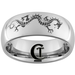 8mm Dome Tungsten Carbide  Dragon Design Ring.