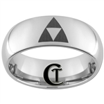 8mm Dome Tungsten Carbide Legend of Zelda Triforce Design