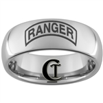 8mm Dome Tungsten Carbide ARMY Ranger Design Ring.