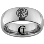 8mm Dome Tungsten Carbide Dragon Yin Yang Design Ring.