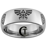 8mm Dome Tungsten Carbide Zelda Hyrule Shield Design
