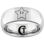 8mm Dome Tungsten Carbide Black Mario Star Design