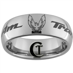 8mm Dome Tungsten Carbide Pontiac Trans Am Phoenix Design Ring.