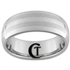 8mm Dome Tungsten Carbide Laser Lines Ring Design