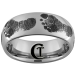 8mm Dome Tungsten Carbide Baby Footprints Design Ring.
