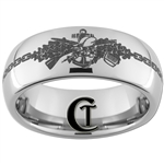 8mm Dome Tungsten Carbide Navy Seabees Design Ring.