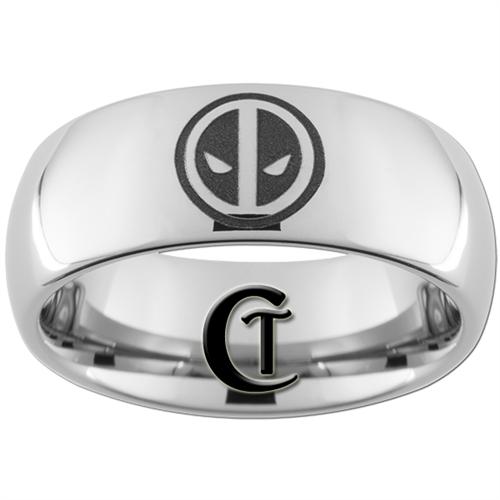 8mm Dome Tungsten Carbide Deadpool Ring Design