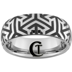 8mm Dome Tungsten Carbide Egyptian Pattern Design